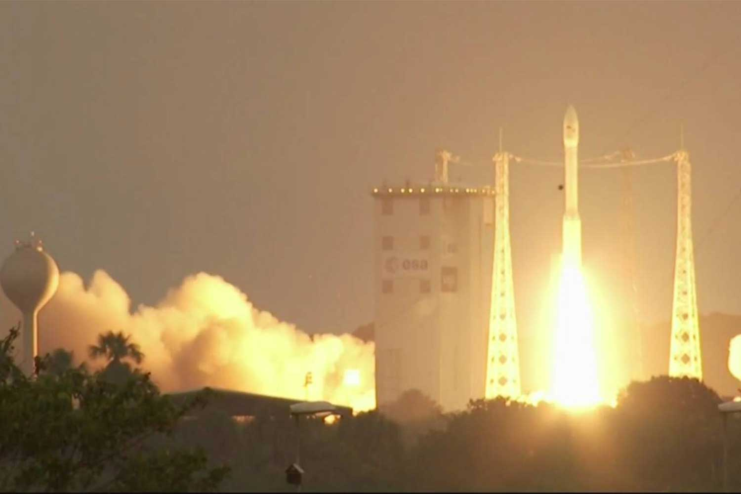 An Arianspace Vega rocket launches from French Guiana at 8.51am Bangkok time on Thursday, carryng Napa-1, the RTAF's first security satellite, and 52 other satellites into orbit. (Photo supplied)