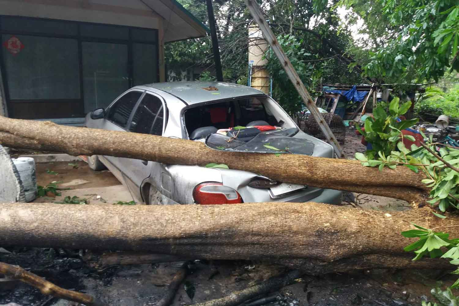 A car at a village in tambon Nong Rawiang of Muang district, Nakhon Ratchasima, is  damaged by fallen trees during a storm on Sunday. PRASIT TANGPRASERT