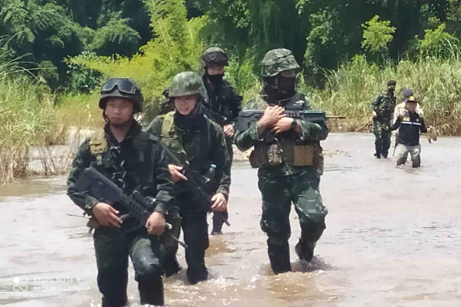 Security authorities patrol the Moei River in Tak province to prevent illegal immigration. ASSAWIN PINITWONG