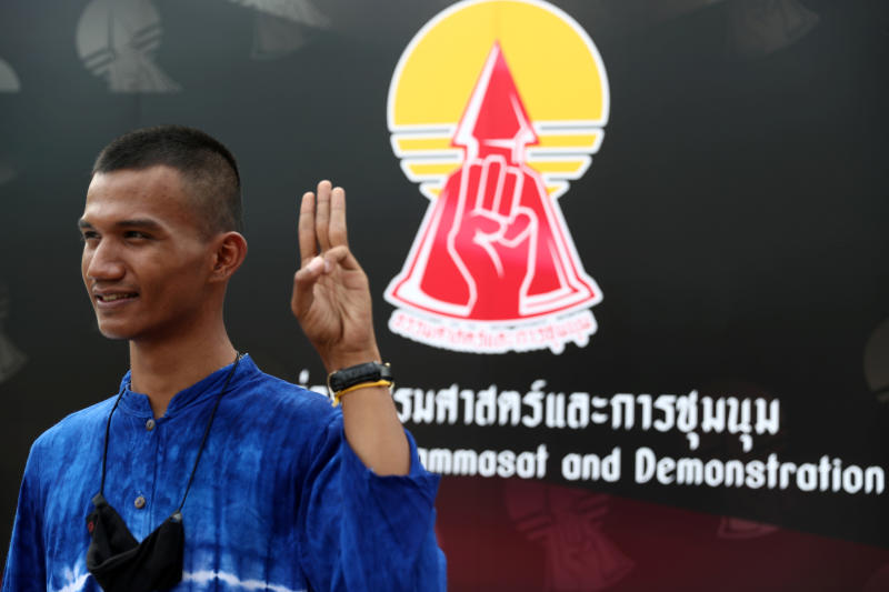 Panupong Jadnok, one of the student leaders of the United Front of Thammasat and Demonstration gestures after a news conference about a protest they will hold on Sept 19, at Thammasat University in Bangkok on Wednesday. (Reuters photo)