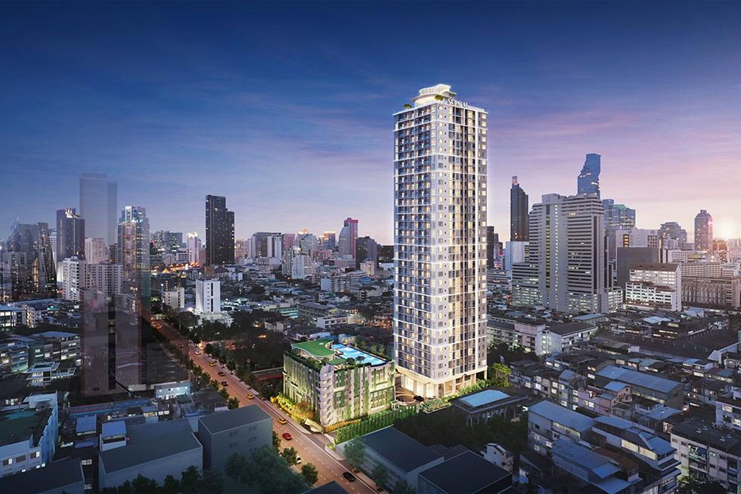 A digital rendition of Supalai Premier Siphraya-Samyan, a condo project with 384 units priced from 3.69 million baht.
