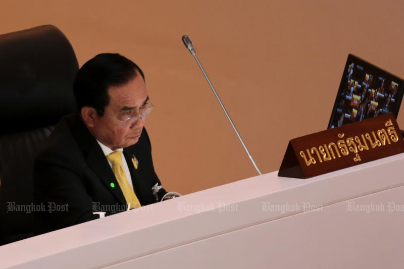 Prime Minister Prayut Chan-o-cha reacts during a debate in parliament on Wednesday. (Photo by Chanat Katanyu)