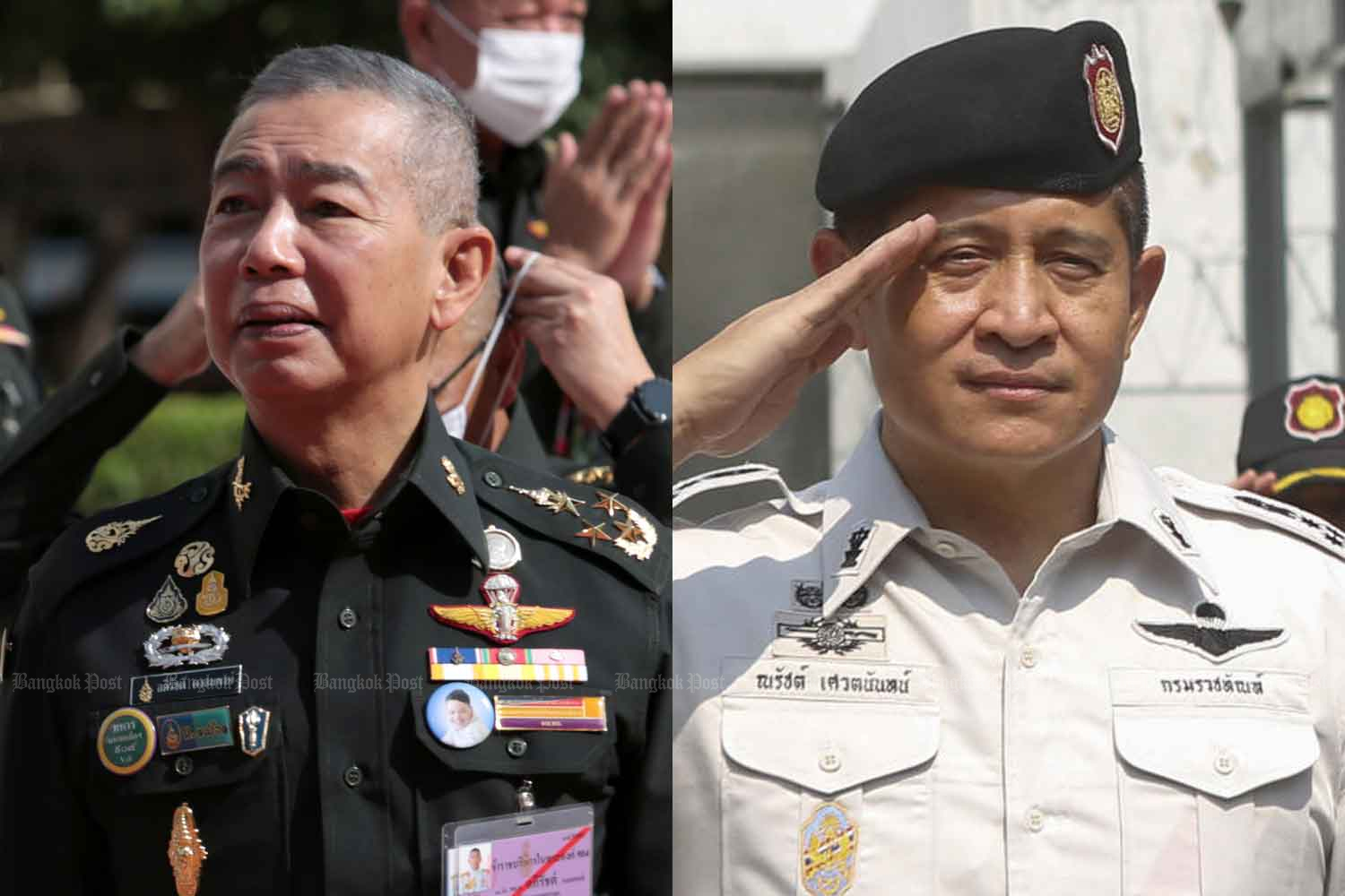 Army commander Gen Apirat Kongsompong (left) and Corrections Department director-general Naras Savestanan will become deputies to the Lord Chamberlain from Oct 1.