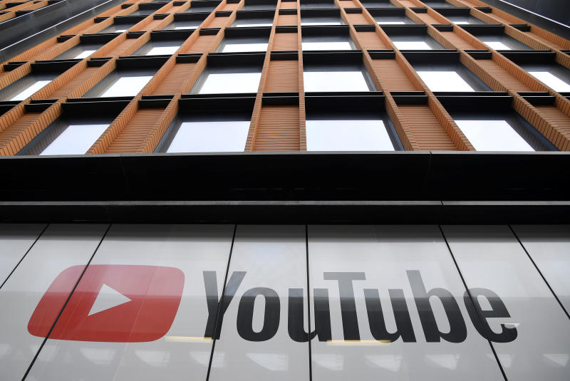 YouTube signage is seen at their offices in King's Cross, London on Friday. (Reuters photo)