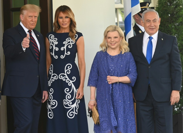 US President Donald Trump and First Lady Melania Trump welcome Israeli Prime Minister Benjamin Netanyahu and his wife Sara to the White House on September 15, 2020.