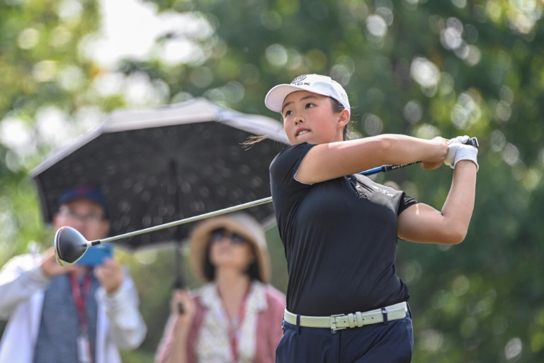 Hat-trick of wins: China's 17-year-old Yin Ruoning, seen here competing as an amateur at the US LPGA Tour's Shanghai event last year