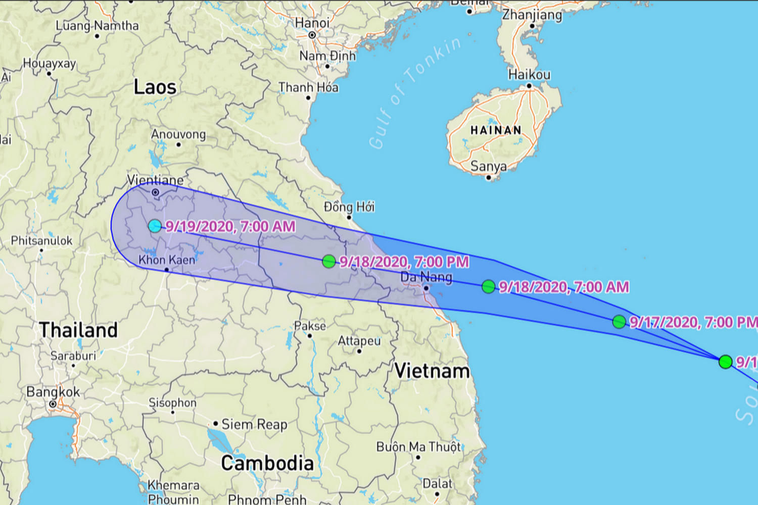 Path of Tropical Storm Noul. (Map: weatherunderground)