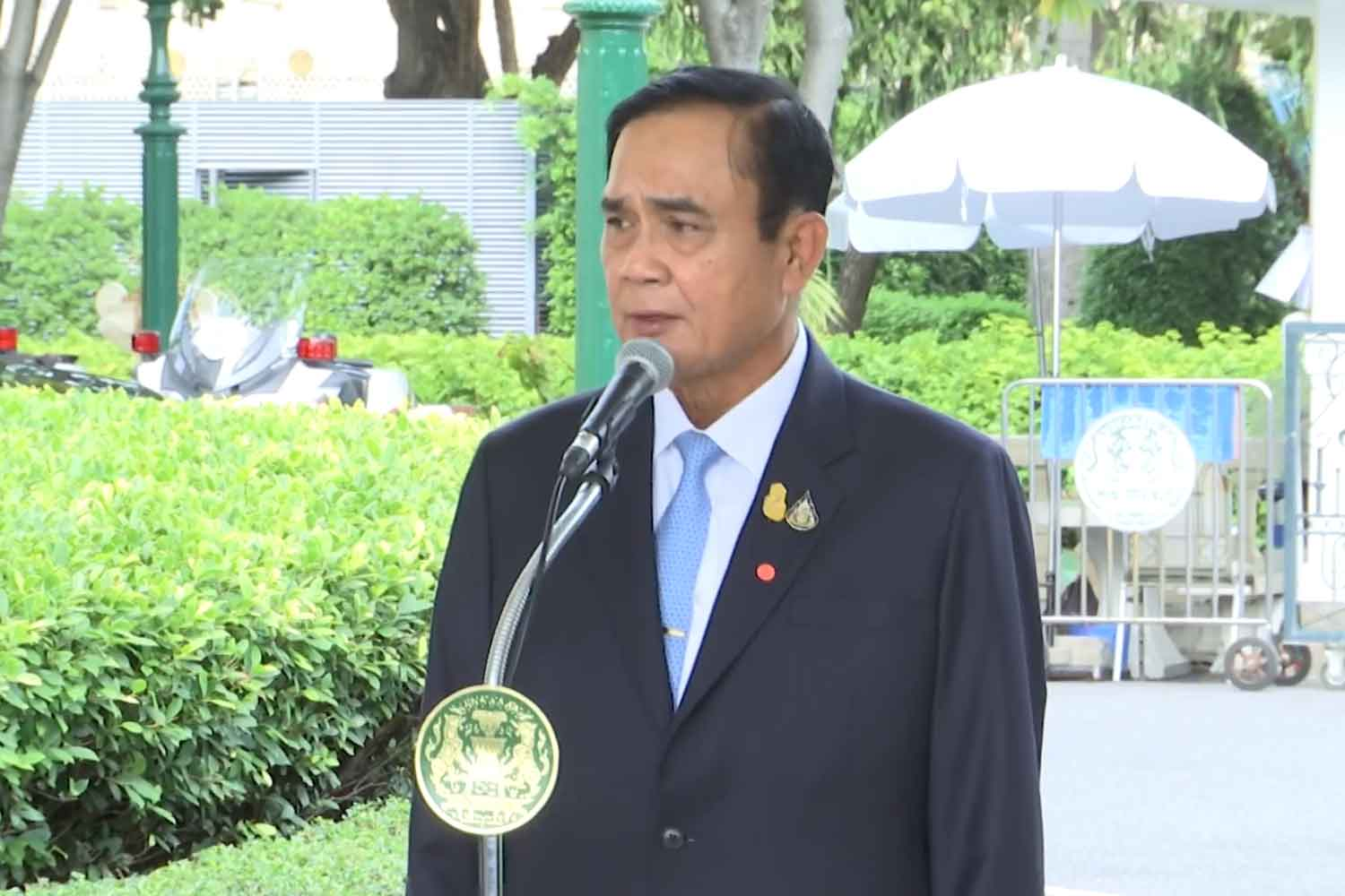 Prime Minister Prayut Chan-o-cha answers questions at Government House about the  anti-government demonstration planned for inner Bangkok this weekend. (Photo:  Government House Facebook page)