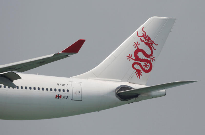 A Cathay Dragon plane is seen at Hong Kong International Airport. (Reuters photo)