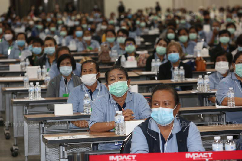 Public health volunteers attend a forum on preparing for a possible second outbreak  of Covid-19, at Impact Muang Thong Thani on Monday. (Photo: Pattarapong Chatpattarasill)