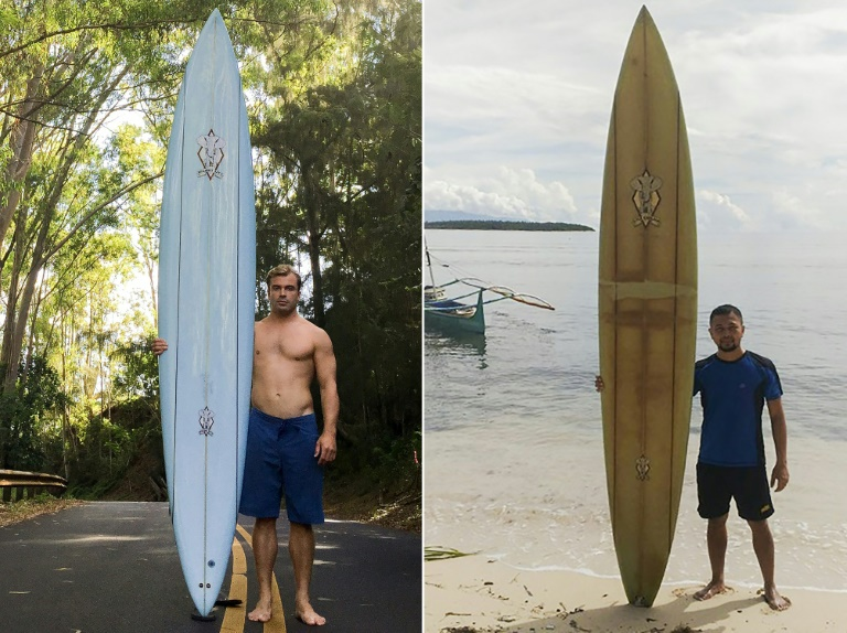 When Doug Falter (left) lost his board in a wipeout in Hawaii two years ago, he never imagined it would be found in the remote island of Sarangani in the southern Philippines, where it is now owned by local primary school teacher Giovanne Branzuela (right).