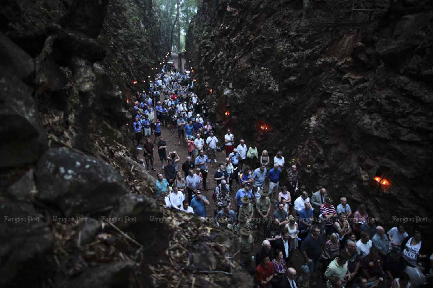 A file photo of people gathering at Chong Khao Khad in Kanchanaburi on April 25, 2015 on Anzac Day to commemorate Australian and New Zealand prisoners of war who died building the Death Railway linking Thailand and Burma during the World War II.