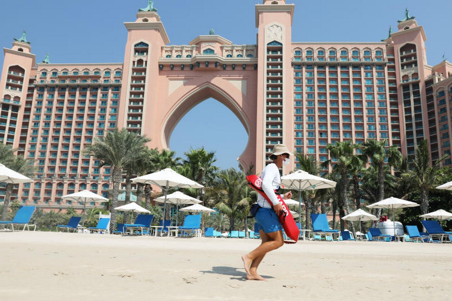 A beach lifeguard is seen at the Atlantis The Palm hotel in Dubai on July 7. (Photo Reuters)