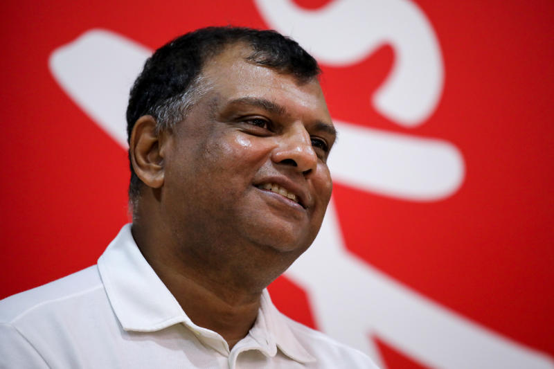 AirAsia Group CEO Tony Fernandes reacts during an interview with Reuters in Kuala Lumpur Malaysia Sept 7, 2020. (Reuters photo)