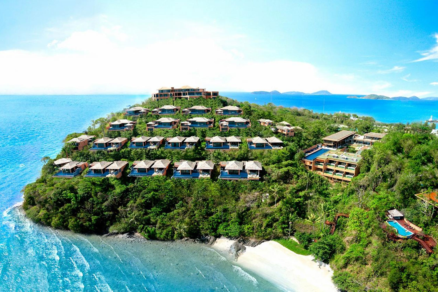 Pool villas at the Sri Panwa Phuket resort are seen on a hill overlooking the Andaman Sea in the island's Muang district. A petition has been submitted to the DSI by an anti-corruption activist raising questions over the legality of the land title deeds issued prior to the construction of the luxury hilltop complex. (Photo: Sri Panwa Phuket website)