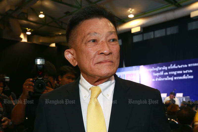 Sompong Amornwiwat is expected to be returned as leader of the Pheu Thai Party, but with a new set of executive members. (Bangkok Post file photo)