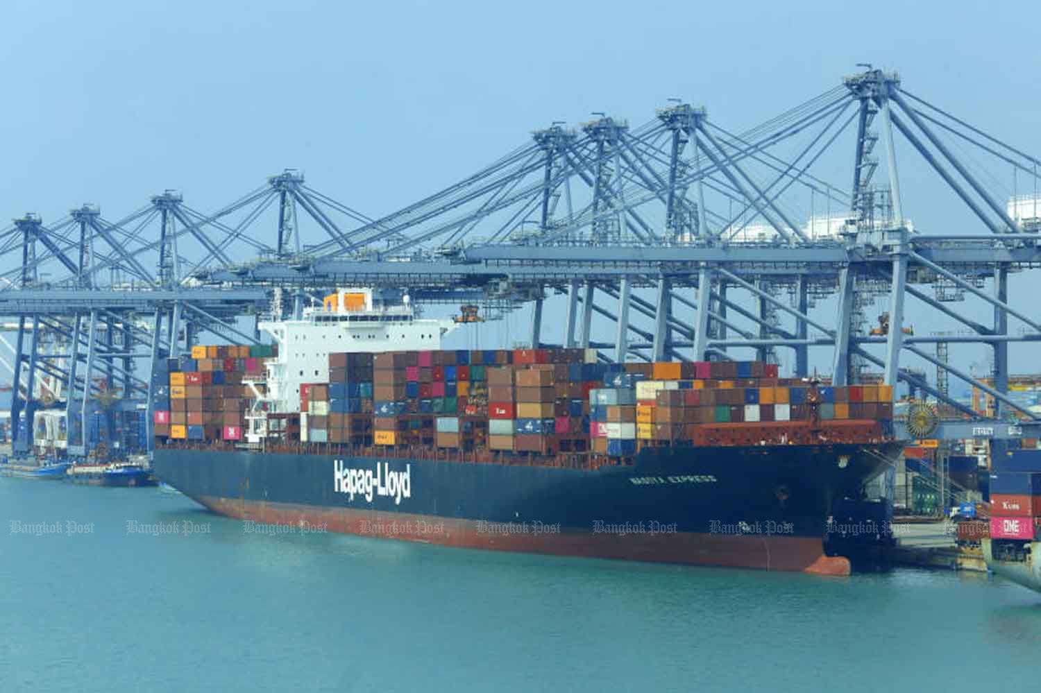 A cargo vessel loaded with containers is docked at Laem  Chabang port in Chon Buri province.