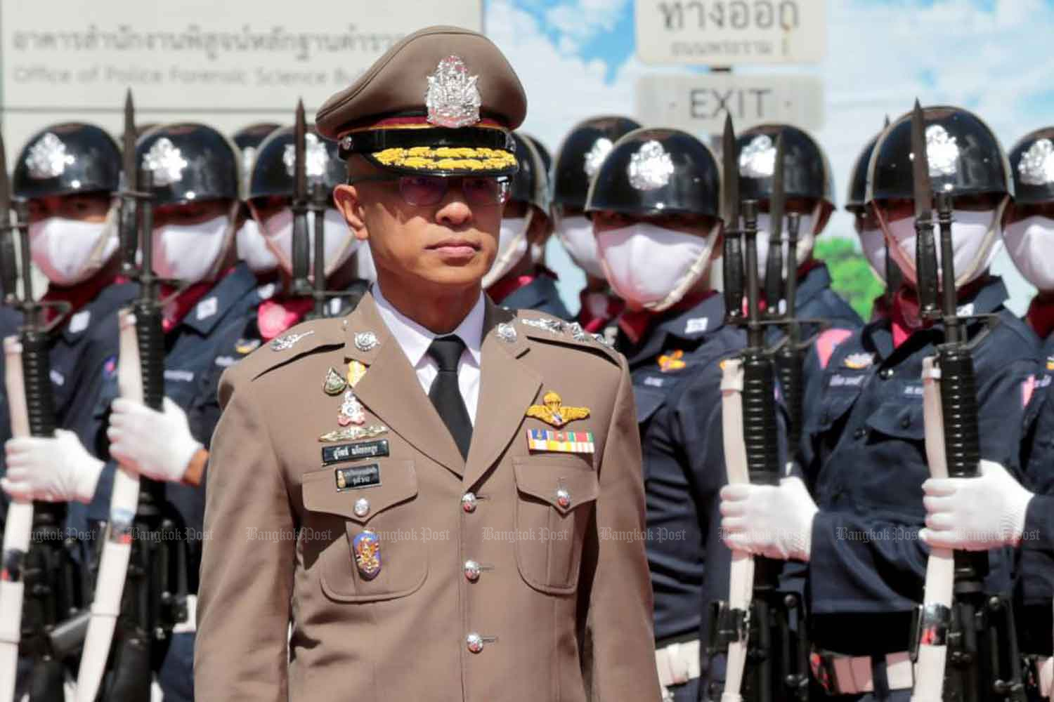 Pol Gen Suwat Jangyodsuk, the newly-appointed national police chief, at the police force leadership handover ceremony.Chanat Katanyu