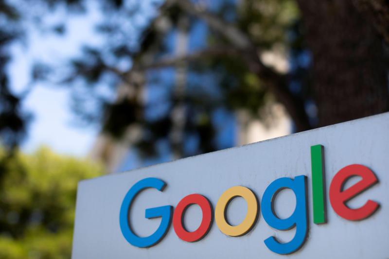 A Google sign is shown at one of the company's office complexes in Irvine, California, on July 27, 2020. (Reuters photo)