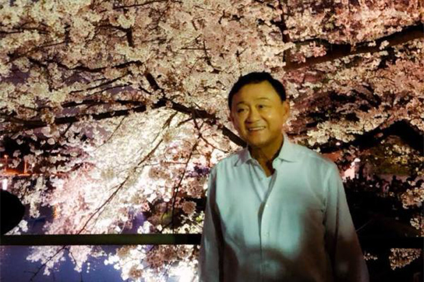 Former prime minister Thaksin Shinawatra, seen here in Tokyo in March 2018, was diagnosed with Covid-19 in August but says he is healthy now. (Photo from Ing Shinawatra Facebook account)