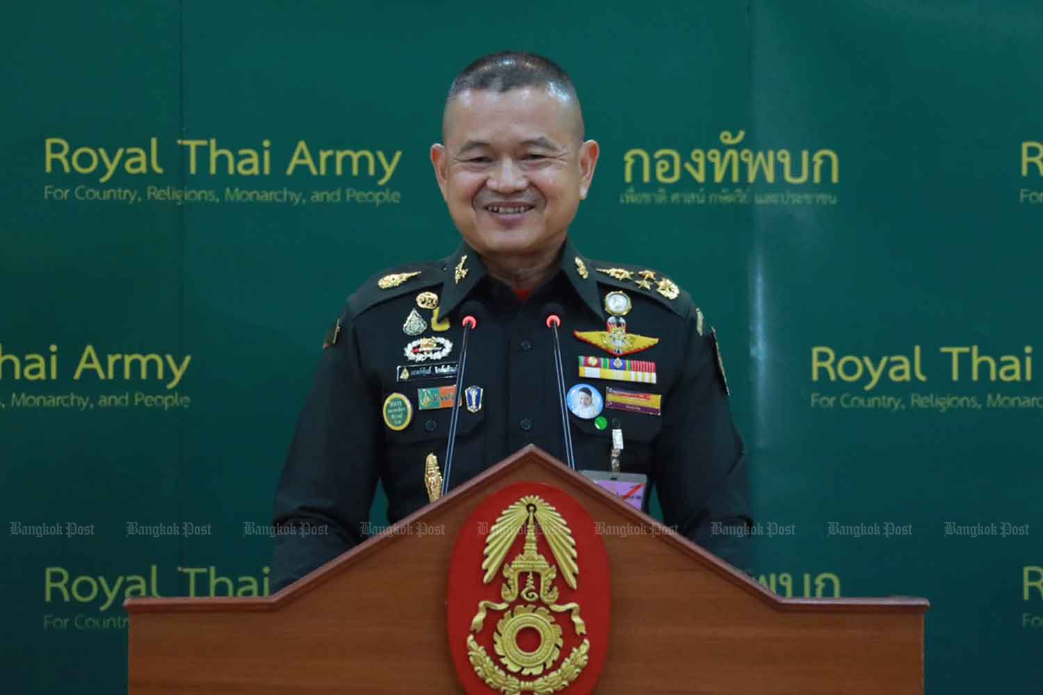 Army chief Gen Narongphan Jitkaewtae gives an interview after his first press conference at the Royal Thai Army headquarters in Bangkok on Tuesday. (Photo by Wassana Nanuam)
