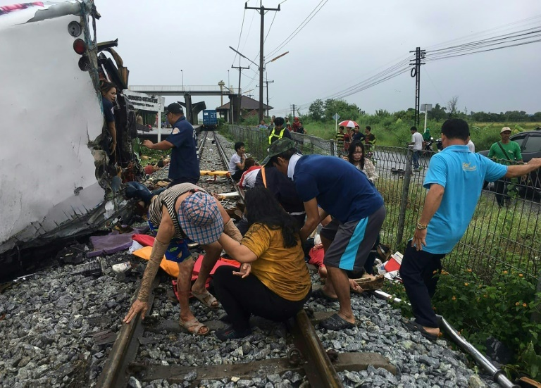 The bus and train collided at a location in Chachoengsao province, around 50km east of Bangkok.