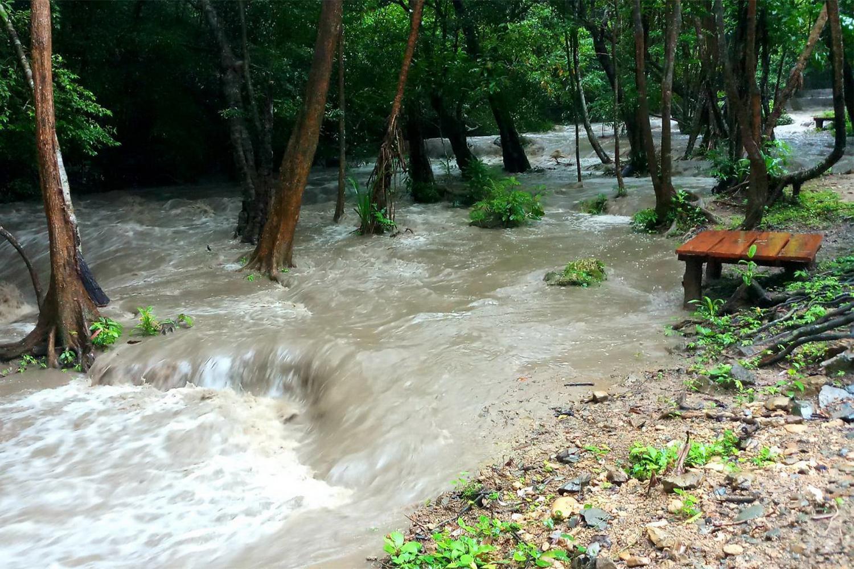 The Erawan Waterfall in Si Sawat district of Kanchanaburi province is closed on Sunday. (Photo by Piyarat Chongcharoen)