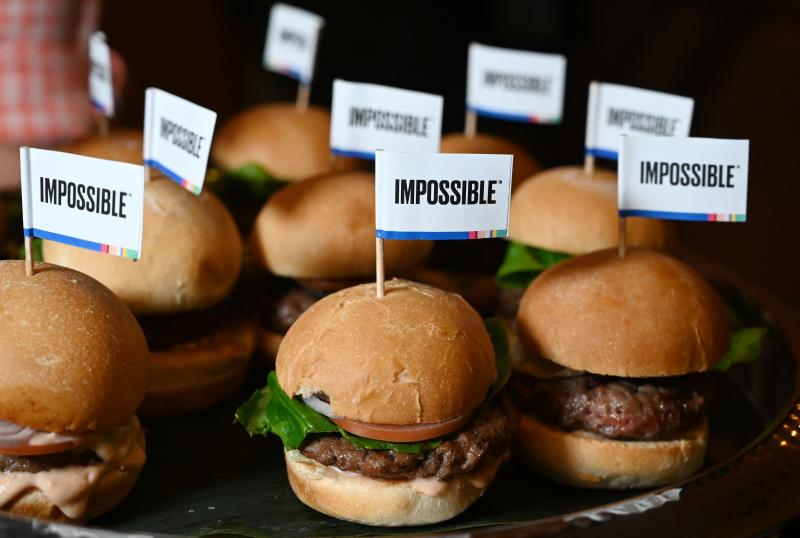 FILE PHOTO: The Impossible Burger 2.0, a reduced-calorie version of the company's plant-based vegan burger that tastes like real beef is introduced at a press event during CES 2019 in Las Vegas, Nevada on Jan 7, 2019. (AFP)