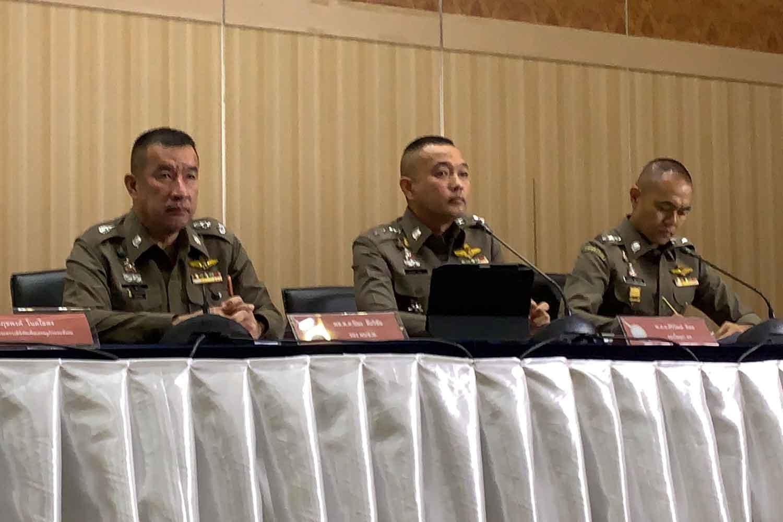From left, deputy Bangkok police chief Pol Maj Gen Piya Tawichai and deputy police spokesmen Pol Col Siriwat Deepor and Pol Col Kissana Phathanacharoen in their press conference on Tuesday. (Photo supplied)