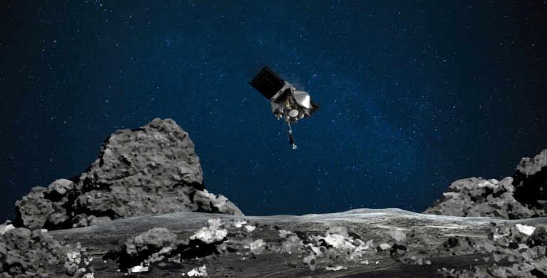 An artist's rendition of Osiris-Rex approaching the asteroid Bennu.
