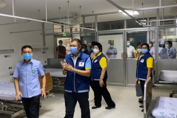 Doctors check a room prepared to quarantine Covid-19 patients at Koh Samui Hospital after a French woman was found infected with the virus on the holiday island. (Photo by Supapong Chaolan)