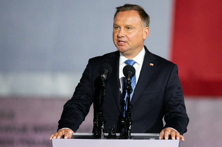Polish President Andrzej Duda speaks to a crowd on September 1 during an event to commemorate the outbreak of World War II in Gdansk.