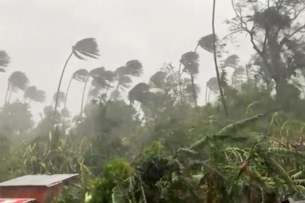 High winds and heavy rain are seen in Mindoro Oriental, Philippines on Monday in this still image obtained from video. (Photo: Erik De Castro via Reuters)