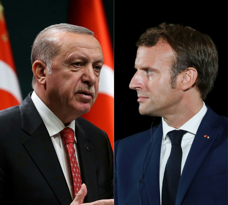 A new Charlie Hebdo cartoon of Turkish President Recep Tayyip Erdogan (L) has stoked confrontation with France and President Emmanuel Macron.