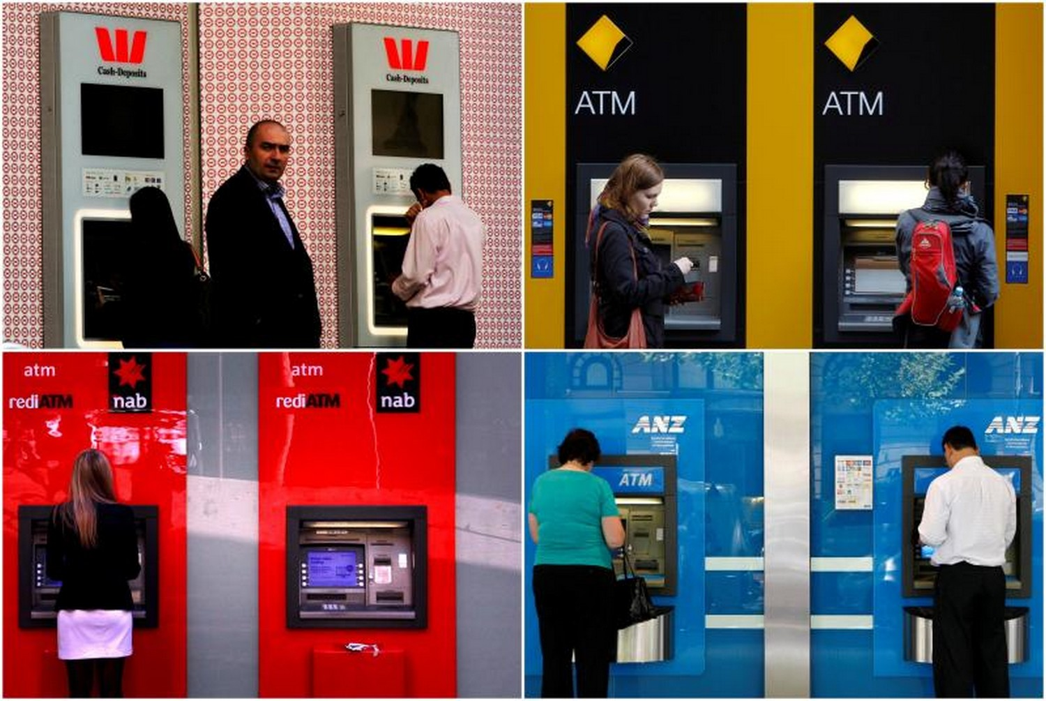 Customers using ATMs at Australia's