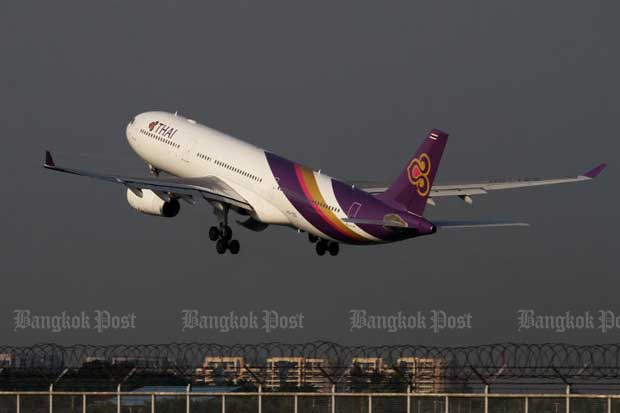 Thai Airways International has launched a special flight for passengers who want to chant Buddhist mantras over 99 sacred sites. (Bangkok Post file photo)