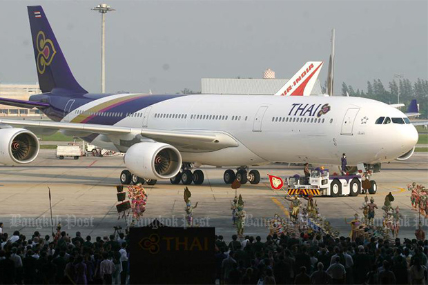Thai Airways International wants to sell 34 old planes, of various models, including three fuel-guzzling Airbus 340-500s. (Bangkok Post file photo)