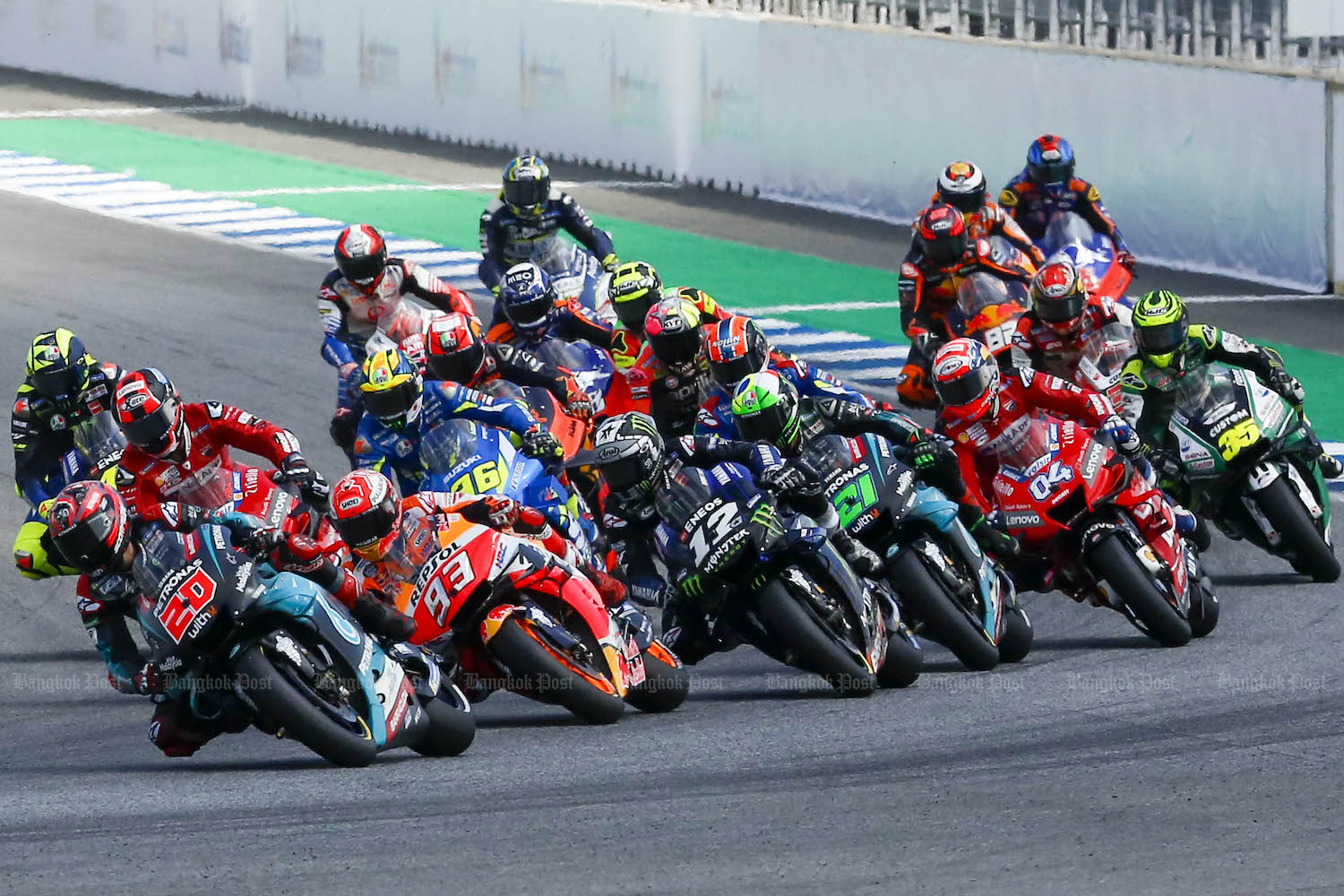 Riders take part in the 2019 Thailand Grand Prix at the Chang International Circuit in Buri Ram in October last year. (Post File Photo)
