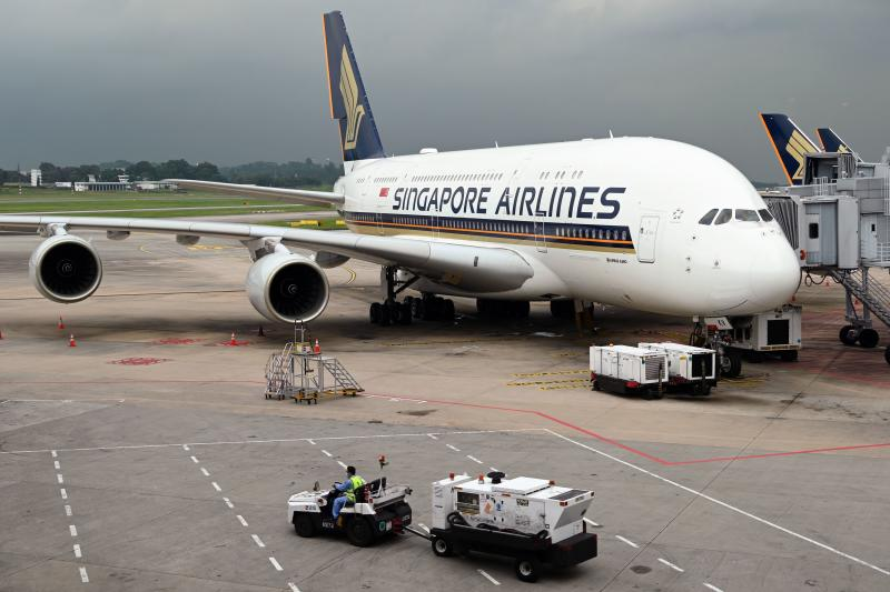 A Singapore Airlines Airbus A380 plane is parked on the tarmac at Changi International Airport in Singapore on Oct 24, 2020. (AFP file photo)