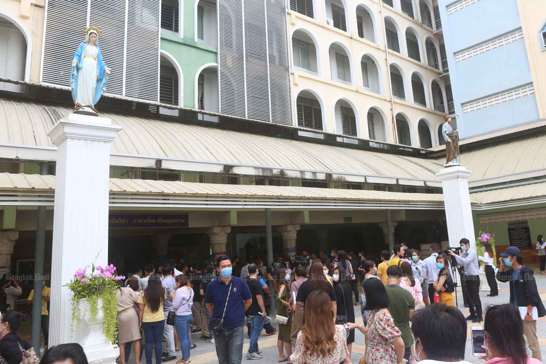 Parents gather at Sarasas Witaed Ratchaphruek School in Nonthaburi province in September, demanding assurances their children were being safely cared for. (Photo:  Pattarapong Chatpattarasill)