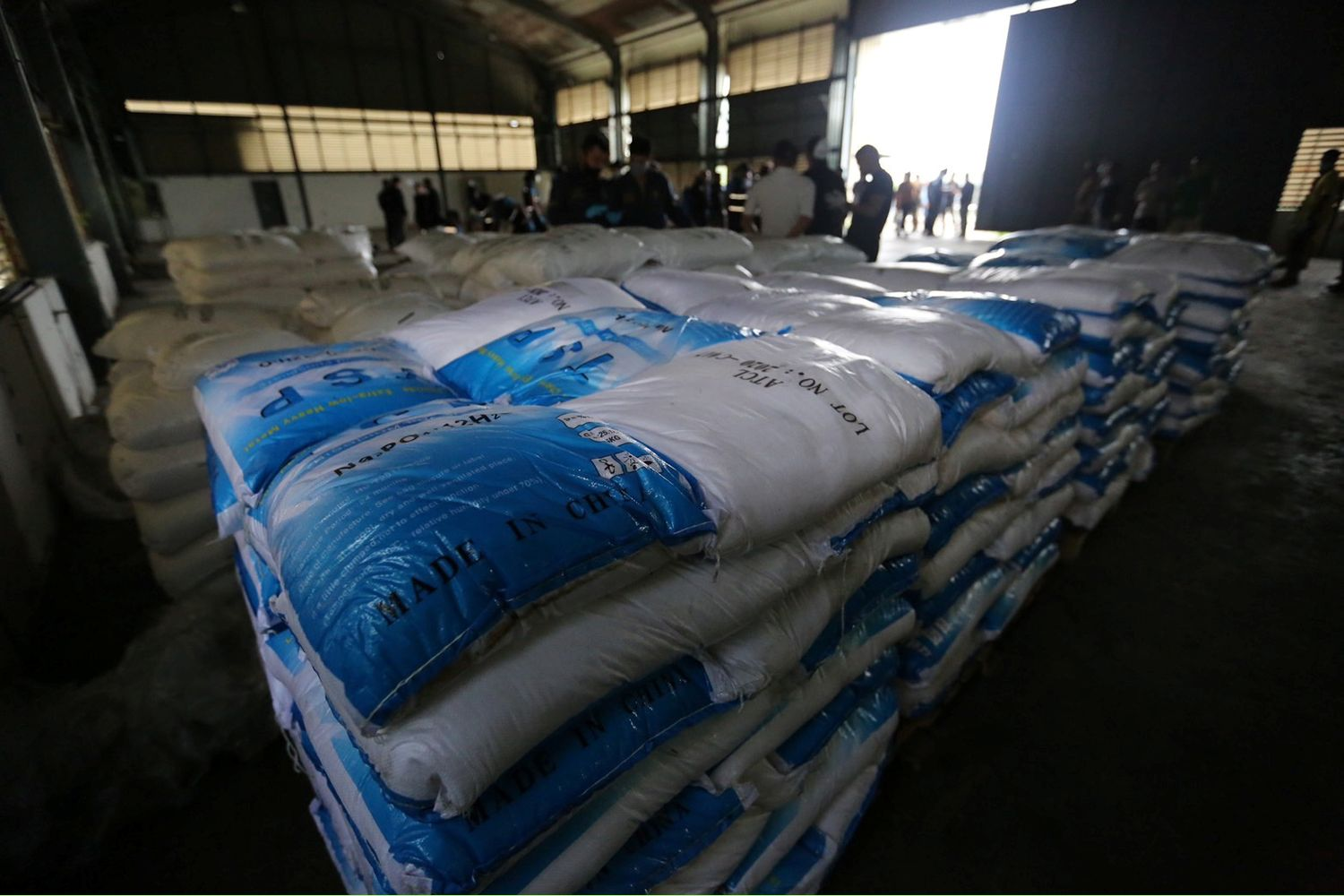 View of the product after officials seized 11.5 tonnes of ketamine worth nearly 30 billion baht at a warehouse in Chachoengsao province on Thursday. (Office of the Narcotics Control Board handout via Reuters)