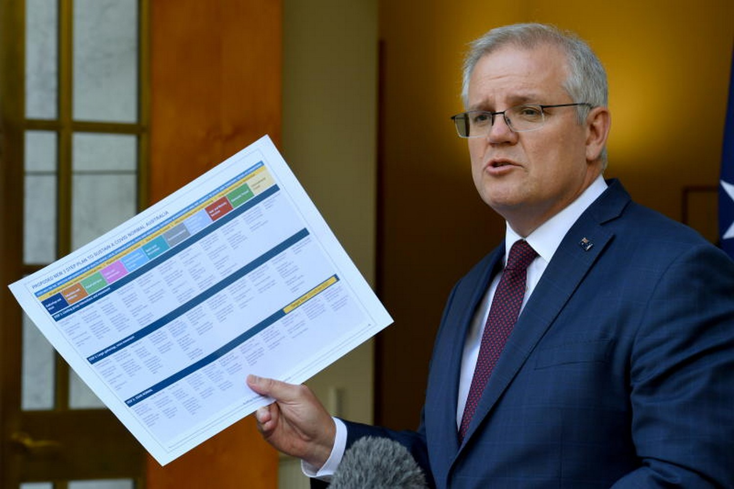 Australian Prime Minister Scott Morrison speaks at a press conference at Parliament House following a cabinet meeting on the potential easing of border restrictions and a national vaccine strategy, as the coronavirus disease outbreak eases around the country, in Canberra on Friday. (Photo: Reuters)