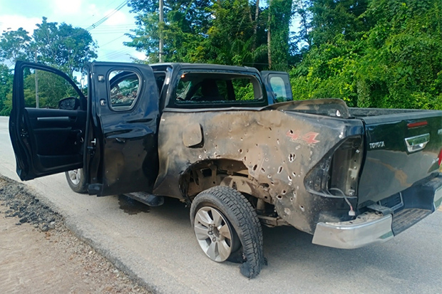 The damaged pickup after the bomb explosion in Rueso district, Narathiwat, on Sunday. (Photo: Abdullah Benjakat)