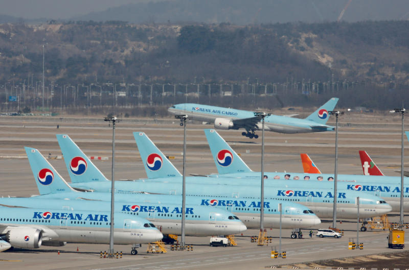 Korean Air passenger planes are parked at Incheon International Airport in South Korea on March 24, 2020. (Reuters photo)