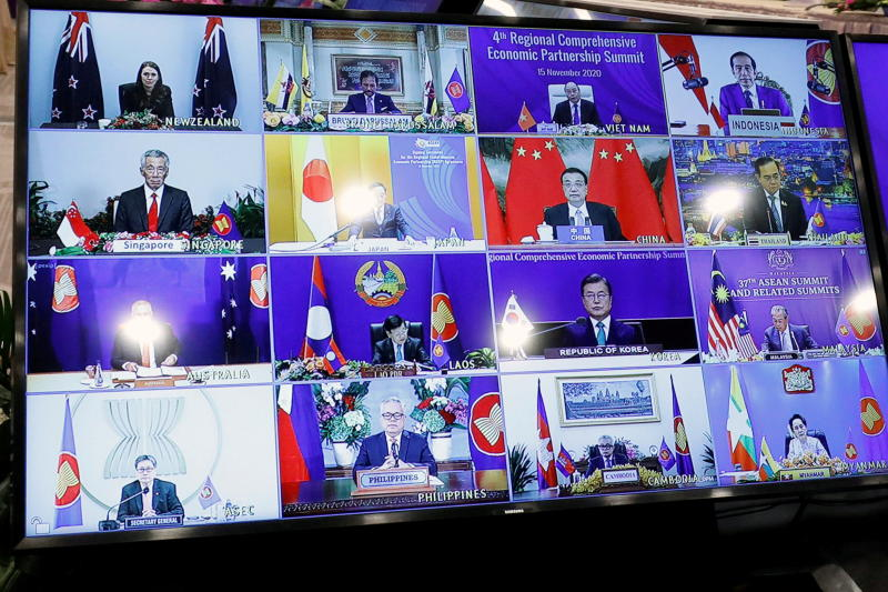 Asean leaders are seen on a screen as they attend the 4th Regional Comprehensive Economic Partnership Summit as part of the 37th Asean Summit in Hanoi, Vietnam on Sunday. (Reuters photo)