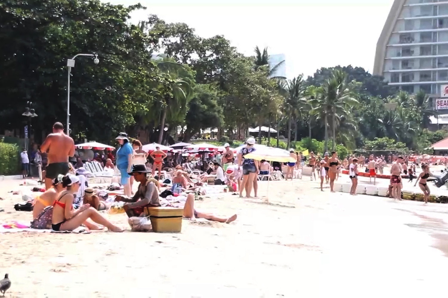Tourists relax on Pattaya beach. Authorities hope social distancing will result in more tourism income for local communities.(Photo by Chaiyot Pupattanapong)