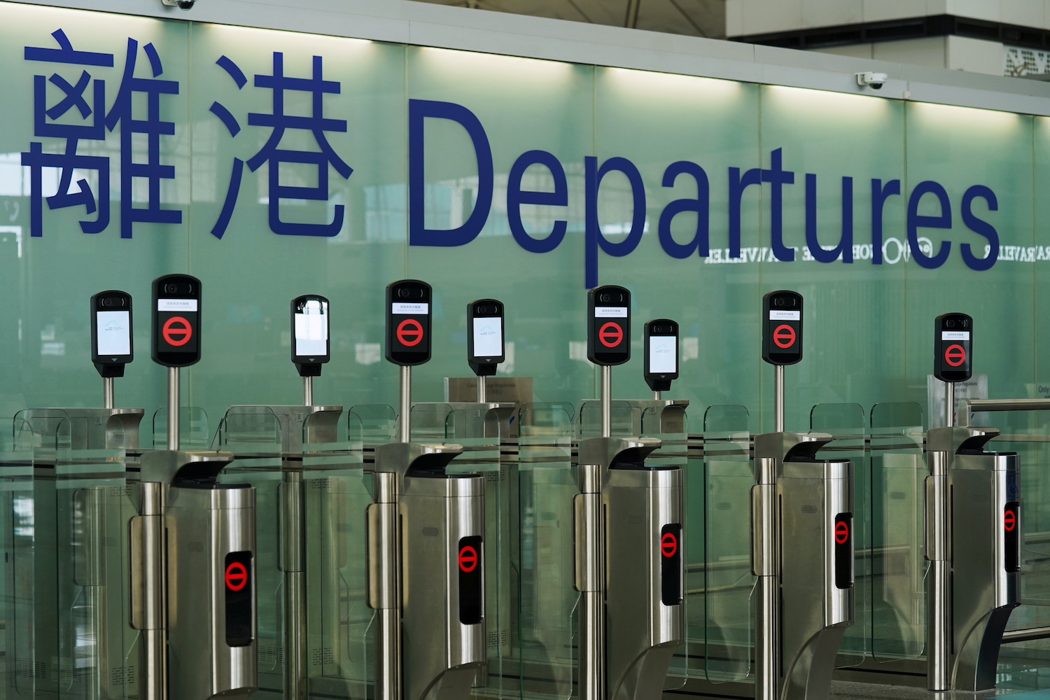 Closed counters are seen in the departure hall of Hong Kong International Airport in October. (Reuters File Photo)