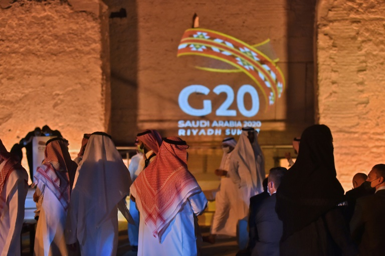 The G20 logo is projected at the historical site of al Tarif on the outskirts of the Saudi capital Riyadh