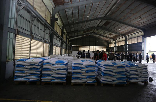 View of the product after officials seized 11.5 tonnes of what they said ketamine worth nearly 30 billion baht at a warehouse in Chachoengsao on Nov 12. (Office of the Narcotics Control Board photo)