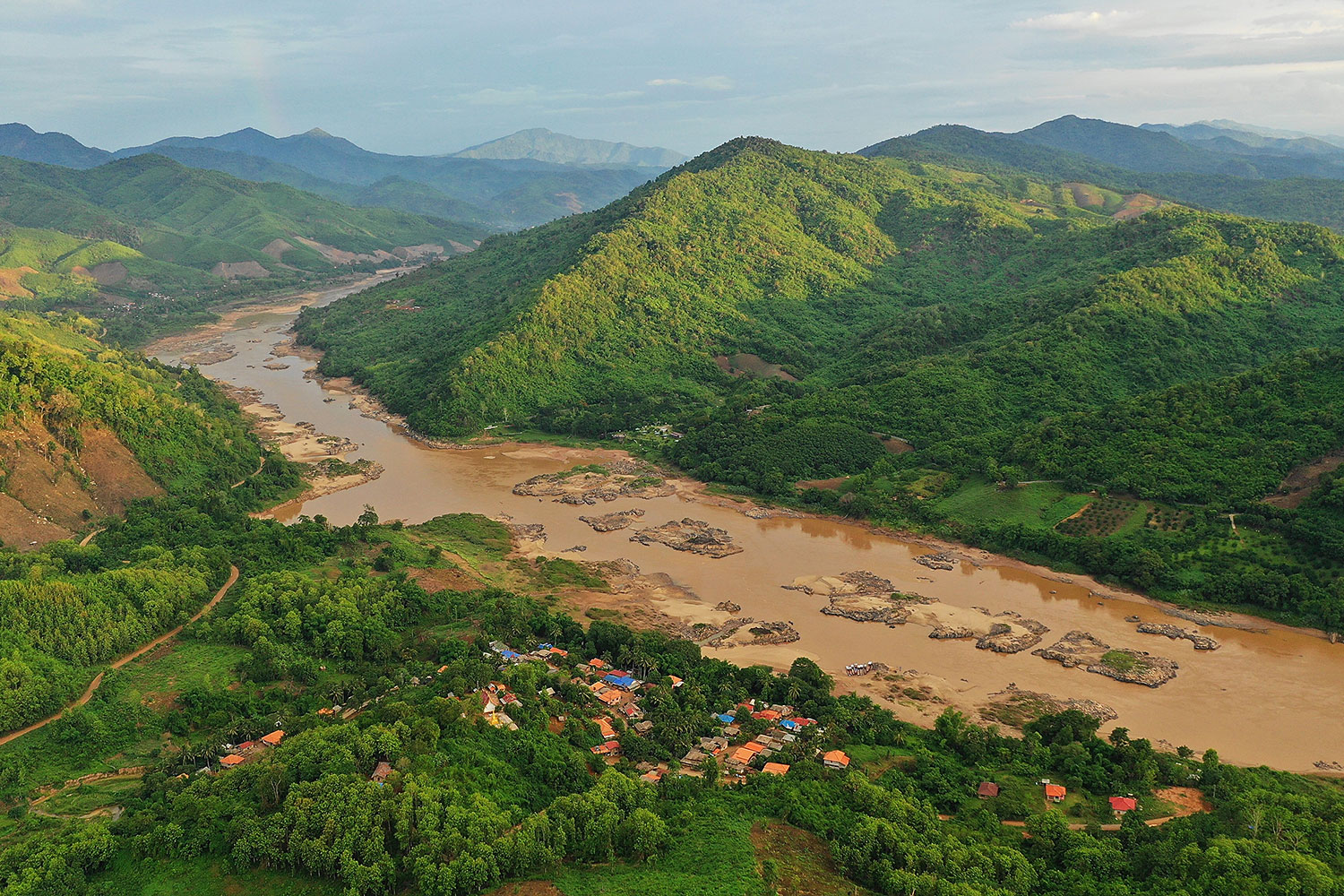 A section of the Mekong River in Wiang Kaen district, Chiang Rai province opposite Laos.